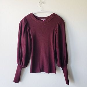 Vince Camuto Princess Sleeve Burgundy Knit Sweater
